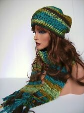 TURQUOISE BROWN HAND CROCHET HAT AND SCARF SET HAND MADE BEANIE CLOCHE BOHO TAM