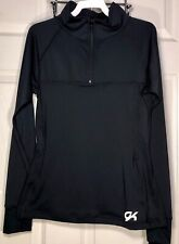 WAS $99.99 NWT! GK ELITE GIRLS FITTED ACTIVETEK PULLOVER WARM UP JACKET BLACK CM