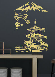 Japanese Stencil Temple Blossom Cherry Paint Wall Furniture Crafts Reusable CI2