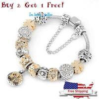 Authentic Pandora LUXURY Bracelet Silver Heart Love Gold Crystal Charm 2+1 Free!