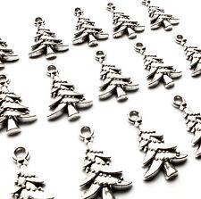 15 Silver tone Metal Christmas Tree Charms Pendants 21mm Card Craft Jewellery
