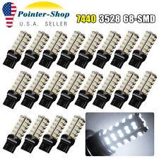 20x Super White 7440 T20 3528 68-SMD Tail Brake Backup Reverse LED Light Bulbs
