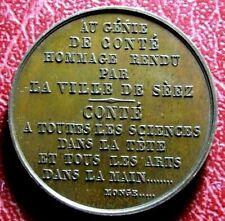 Conté Nicolas-Jacques monument d'hommage ville de Sées 1852 Paris rare Médaille