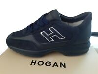 HOGAN INTERACTIVE H FLOCK MENS TRAINERS/SNEAKERS NAVY/NAVY - LIMITED EDITION!!!