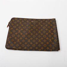 "Louis Vuitton Document Portfolio Pouch Monogrammed Brown Canvas Zip Case 15"""