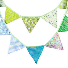3.3M Green Blue Handmade Vintage Rustic Cotton Fabric Flag Bunting  -12 flags