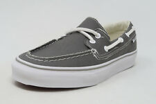 VANS Zapato del Barco Pewter White Canvas Slip On Sneakers Waffle Sole Men Shoes