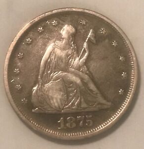 1875. 20c Twenty cents  , VF / XF.  Scarce date