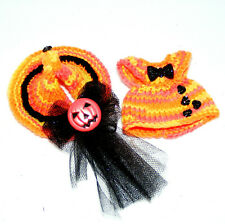 """Troll Doll Clothes, 2.5-3"""" Halloween, Dress, Witches Hat"""