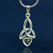 KIRA Sterling Silver Pendant Charm Moldavite Necklace Jewelry Jewel Triquetra