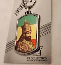 RASTAFARIAN  RASTAFARI  KING SELASSIE  Holographic Flag Dog Tag Necklace