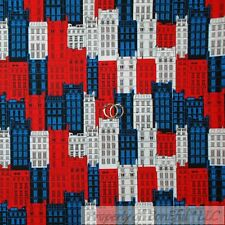 BonEful Fabric Fq Cotton Quilt Red White Blue American City Building Super Hero