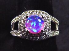 Sterling 925 Silver SF Size 5 Ring 6mm Pink Lab Fire Opal Cabochon & White Topaz