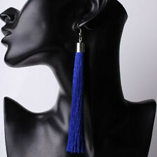 Lady Thread Hook Ear Stud Women Fashion Jewelry Long Tassel Drop Dangle Earrings Royal Blue