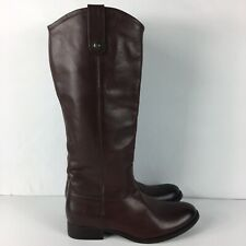 Frye Melissa Button Women's Tall Leather Riding Boots Redwood Brown Size 7