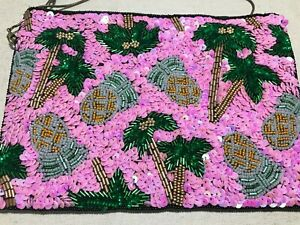 Pink Tropical Beaded Sequinned Clutch Bag From St Xavier Pineapple Palm Trees
