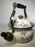 Vintage M. Kamenstein Enameled Floral Motif Tea Pot Kettle Brass Wood Handle 2qt