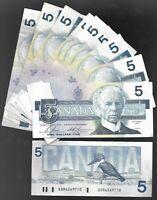 "Canada Five Dollar $5 (1986) - Circulated Notes - Signature set ""Bonin/Theissen"""