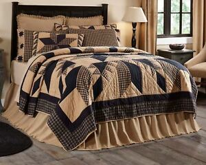 Dakota Star Queen Quilt Black Tan Hand Stitched Feathered Star Country Patchwork