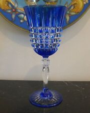 COBALT BLUE CUT TO CLEAR CRYSTAL WINE GOBLET