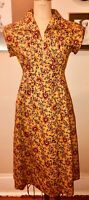 VTG 70'S BOHO HIPPIE PEASANT PLEATED EMPIRE DRESS GOLD YELLOW RED BLUE FLORAL*S