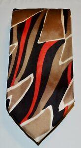 SCHIAPARELLI LANG'S Vintage Khaki Red Orange White Black Patterned 100% Silk Tie