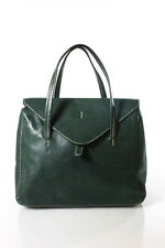 Henry Cuir For Barney's Green Leather Front Flap Close Satchel Handbag