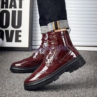 Brogue Mens High Top Retro Ankle Boots Patent Leather Carved Lace Up Club Shoes