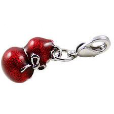 Chinese Fortune Sign Mini Red Gourd Enamel Bracelet Clip on Charm