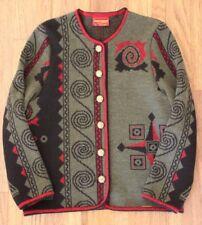 Women Geiger Collections Austria wool green gold button cardigan/sweater, sz 36