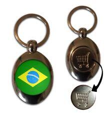 Brazil Flag - £1/€1 Shopping Trolley Coin Key Ring New