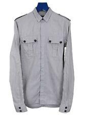 Balmain Black & Gray Striped Military Shirt AW12 sz. 37 XS