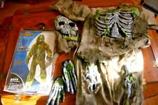 Skeleton ZOMBIE Costume Kids Boys Monster Shredded Mask Med 8/10