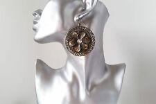 Gorgeous large antique gold tone & diamante flower patterned disc drop earrings