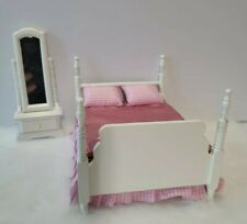 Vintage Dollhouse Miniature Furniture white bedroom set bed vanity with mirror