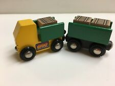 1991 Brio 33594 DUMP TRUCK AND CARGOS WITH CART Sweden Wooden Train Thomas