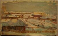Russian Soviet Oil Painting realism impressionism Landscape winter town 1950y