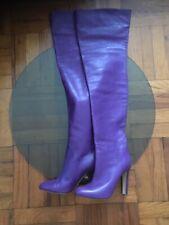 Francesco Russo long beautiful purple leather boots cuissardes size 39