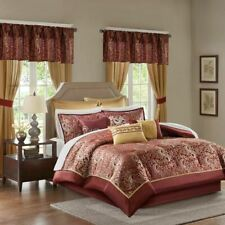 24pc Deep Red & Gold Paisley Comforter Set, Sheets, Pillows, Curtains AND More