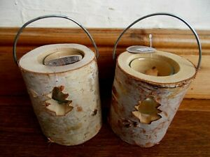 2 RUSTIC WOODEN NORDIC CHRISTMAS CANDLE HOLDERS~TEA LIGHTS~CARVED LOGS WITH BARK