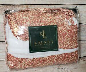 Ralph Lauren Bed Skirt San Luca Scroll Queen Size Coral Split Corner New, Open