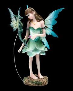 Elfen Figur - Gruni mit Drache - Fantasy Fee Drachenelfe Dekostatue