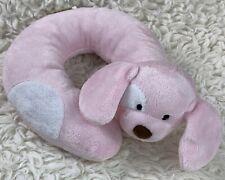 Eddie Bauer Pink White Car Seat Infant Travel Plush Neck Pillow Ring Puppy Dog