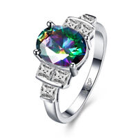 JewelryPalace Genuine Fire Rainbow Coated Quartz  Ring