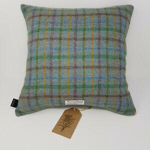 Green Wool check HARRIS TWEED genuine handmade Winter Forest Cushion Cover
