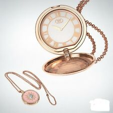 Wintex Milano Quartz pocket Watch necklace Genuine Crystals rose gold tone new