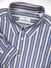 ERMENEGILDO ZEGNA MENS XL CASUAL DRESS SPORT SHIRT STYLISH BLUE IVORY STRIPE LUX