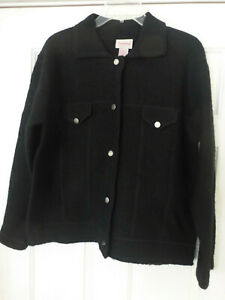 Crystal Kobe Cardigan Button Sweater Jacket Black Boiled Wool  Large NWT VTG