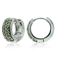 Sterling Silver Marcasite Wide Huggie Hoop Earrings