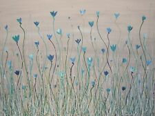 TEAL BLUE POPPIES GREEN WHITE LARGE PAINTING by *STEPHANIE* 101.6cm x 76.2cm